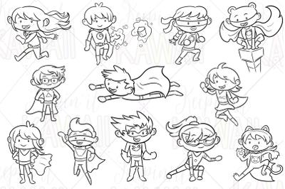 Super Hero Kids Digital Stamps