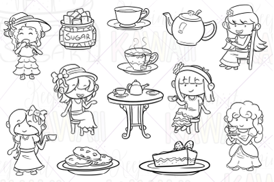 Tea Party Digital Stamps