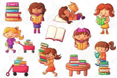 Reading Girls Clip Art