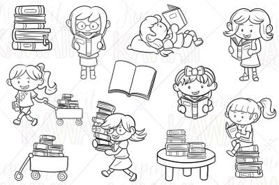 Reading Girls Digital Stamps