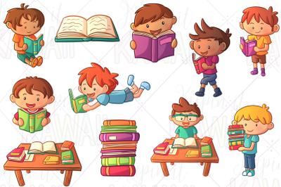Reading Boys Clip Art