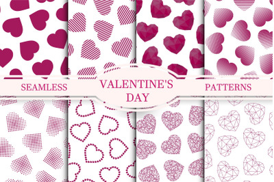 Vector seamless patterns with hearts
