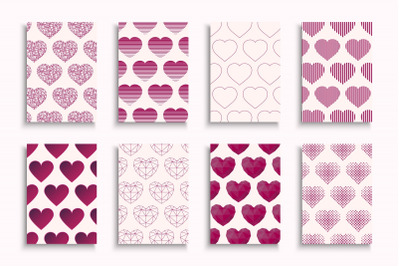 Set of cute posters with hearts
