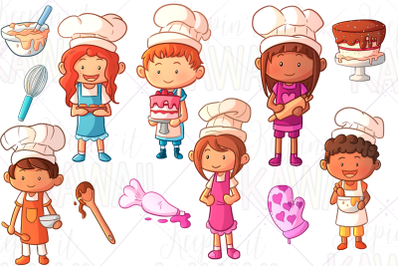 Cute Baking Kids Clip Art
