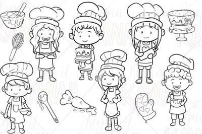 Cute Baking Kids Digital Stamps