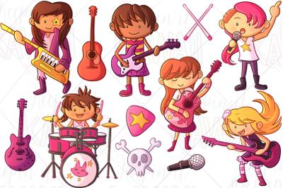 Rock Star Girls Clip Art