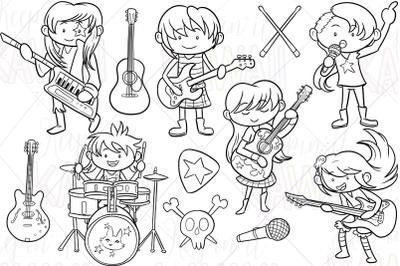 Rock Star Girls Digital Stamps