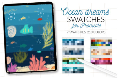 Sea colors swatches for Procreate. Marine life Procreate color palette