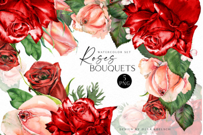 Watercolor boho bouquet clipart, Red roses  boho floral borders png
