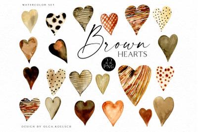 Watercolor brown hearts clipart, Black lives matter clipart, Hand painted black heart digital scrapbooking sublimation design