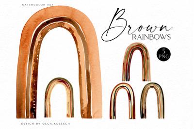 Watercolor brown rainbow clipart,  Boho rainow scrapbooking, nursery