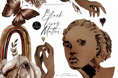 Black lives matter clipart, Watercolor  brown hands, black heart png