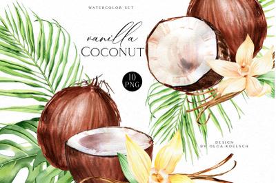 Coconut watercolor clipart,  Vanilla watercolor bouquet clipart weddin