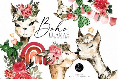 Boho llamas clipart, Watercolor Llama birthday,  love llamas rainbow