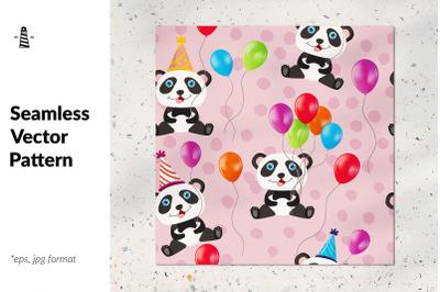 Birthday panda seamless pattern