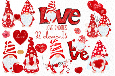Valentine Gnomes clipart Love clipart Cute Characters