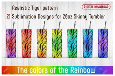 21 Tiger Print Patterns for 20oz SKINNY TUMBLER.