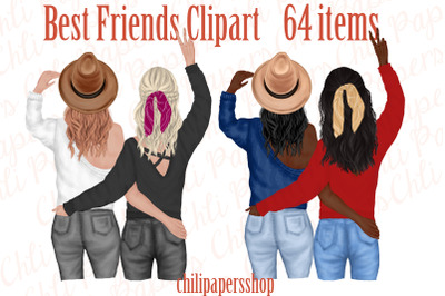 Best Friends Clipart,Besties clipart,Fashion Girls Stickers