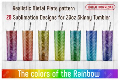 28 Realistic Metal Plate Patterns for 20oz SKINNY TUMBLER.