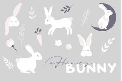 Honey Bunny Set, cute bunnies