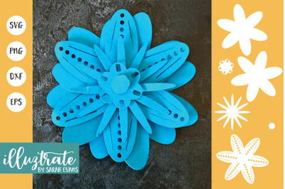 Paper Flower Template SVG Cut File | Layered Flower SVG \| Flower SVG