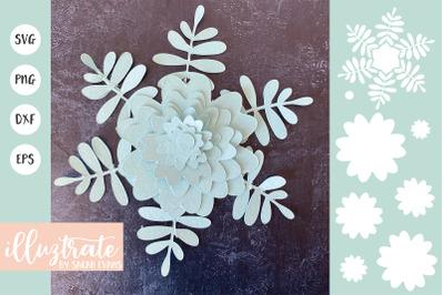 Flower Template SVG Cut File | Paper Flower SCF | 3D Flower SVG