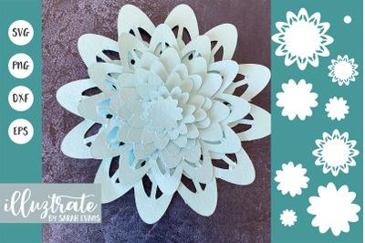 Layered Flower SVG Cut File | 3D Flower SVG Cut File | Flower SVG