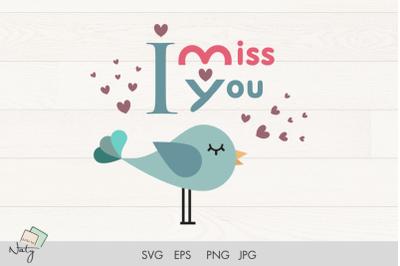 Valentine bird and hearts SVG clipart.