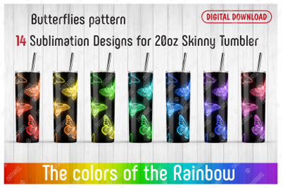 14 Butterflies Patterns for 20oz SKINNY TUMBLER.