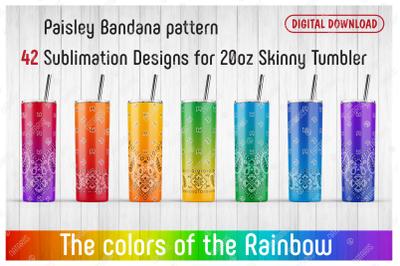 42 Paisley Bandana Patterns for 20oz SKINNY TUMBLER.
