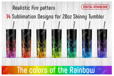 14 Realistic Fire Patterns for 20oz SKINNY TUMBLER.