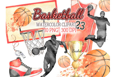 Watercolor basketball clipart sports clip art basketball player basket