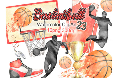 Watercolor basketball clipart sports clip art basketball player basket