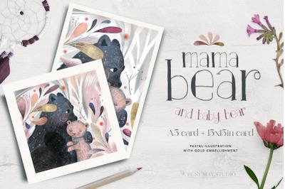 Mama Baby Bear Pastel Card Wall Art Gold