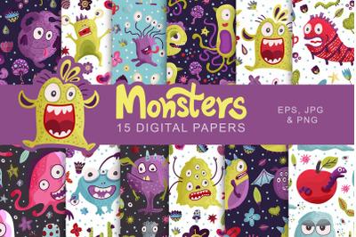 Cute Monster Seamless Pattern Set