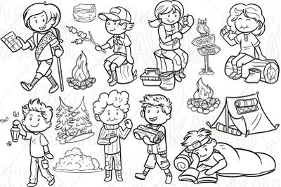 Cute Camping Digital Stamps