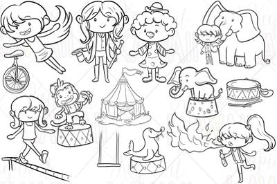 Circus Girls Digital Stamps