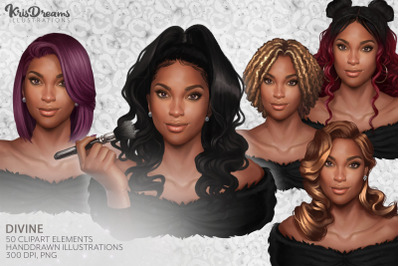 Afro Girls Clipart, Makeup Clipart,Hairstyle Clipart