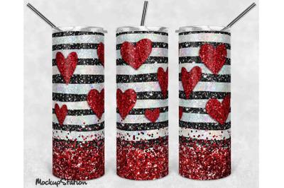 Valentine Glitter Heart 20oz Skinny Tumbler Sublimation Design PNG