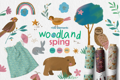 Woodland spring, clipart & patterns