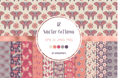 The Butterfly Garden Colorful Vector Patterns and Tiles
