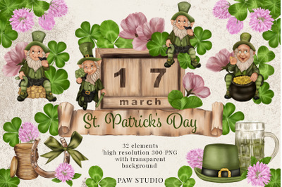 St. Patrick's Day Clipart Leprechaun Shamrock Clover