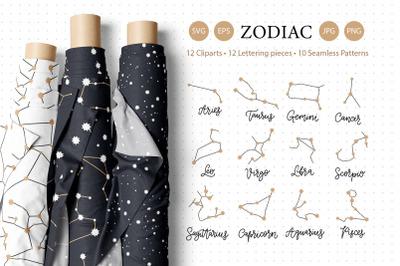 Zodiac SVG and seamless pattern set.
