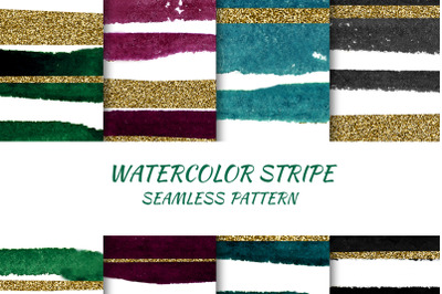 Pattern Watercolor Stripes with Gold