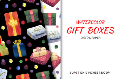 Digital Paper with Colorful Gift Boxes