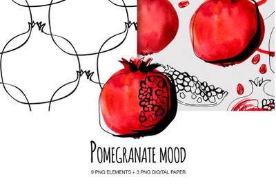 Pomegranate set digital clipart Watecolor and ink