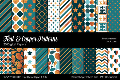 Teal And Copper Digital Papers