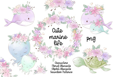 Watercolor nursery clipart Cute marine life animals. PNG.