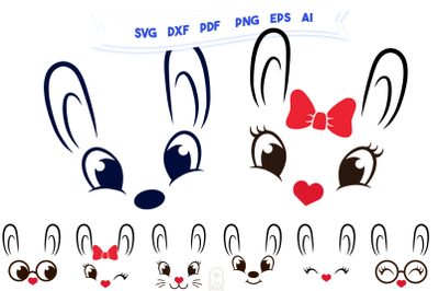 Cute Bunny Faces | Easter SVG Bundle | Bunny SVG