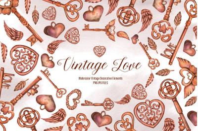 Watercolor Vintage Love Elements
